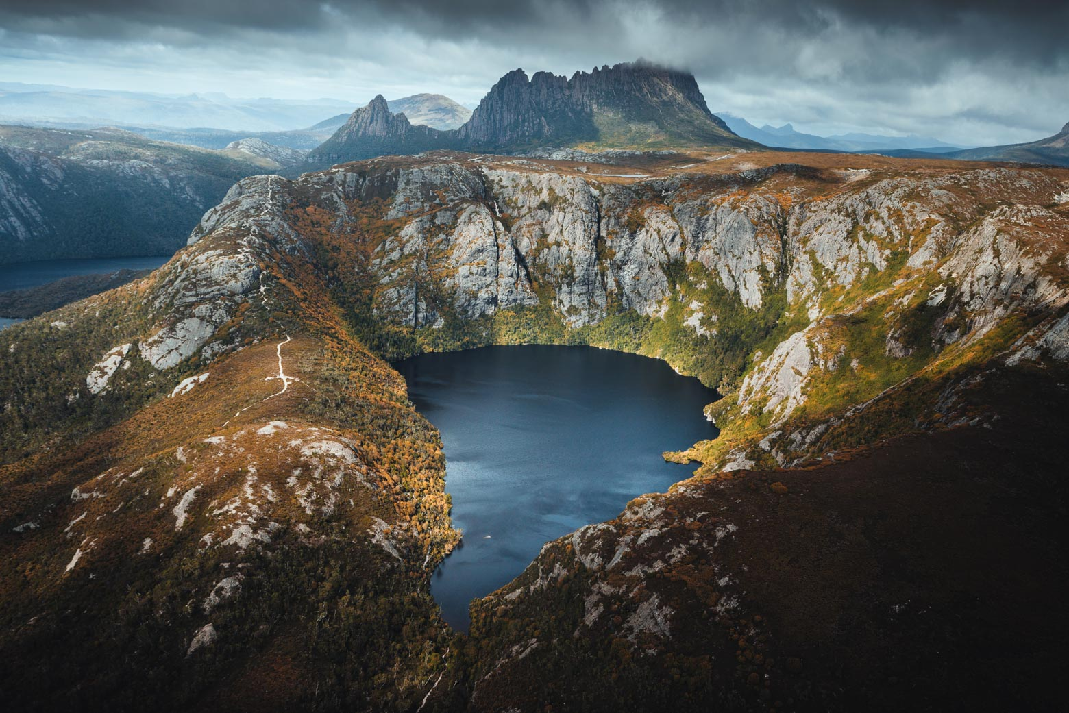 Aerial view of Crater Lake and Cradle Mountain on your Lap of Tasmania road trip