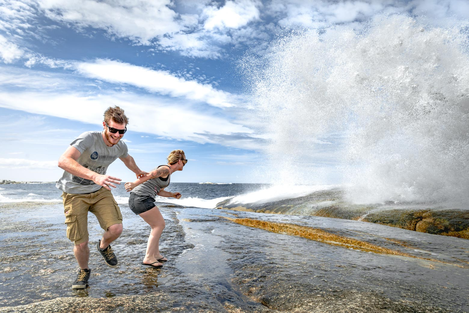 See the exciting Bicheno Blowhole on your Lap of Tasmania road trip
