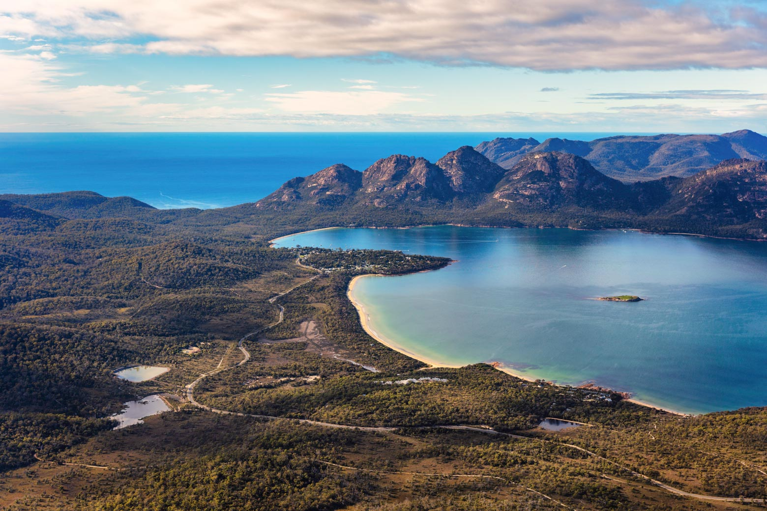 An aerial view of Freycinet National Park on your Lap of Tasmania road trip