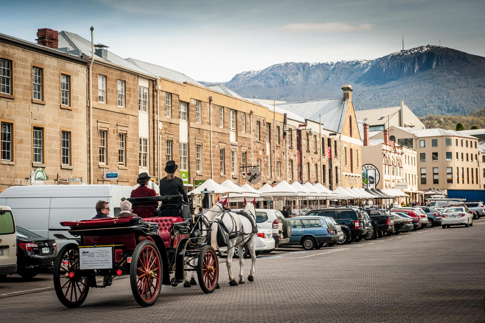 See the Historic Salamanca Waterfront by horse drawn carriage on your Lap of Tasmania road trip