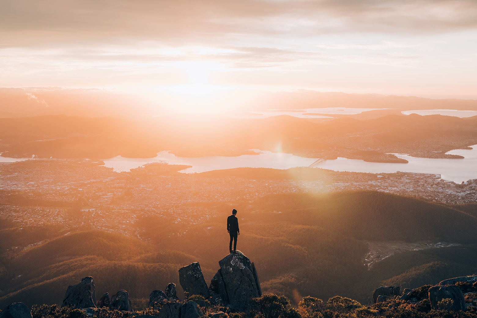 Take the short drive up kunanyi to see a spectacular sunrise from the summit on your Lap of Tasmania road trip