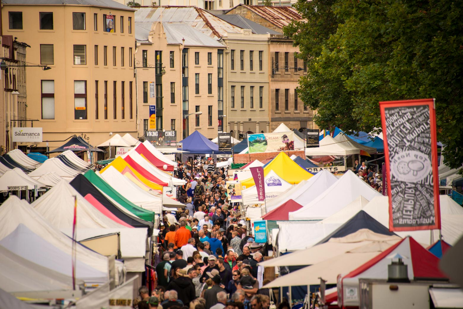 Experience the buzz of Salamanca Market on your Lap of Tasmania road trip