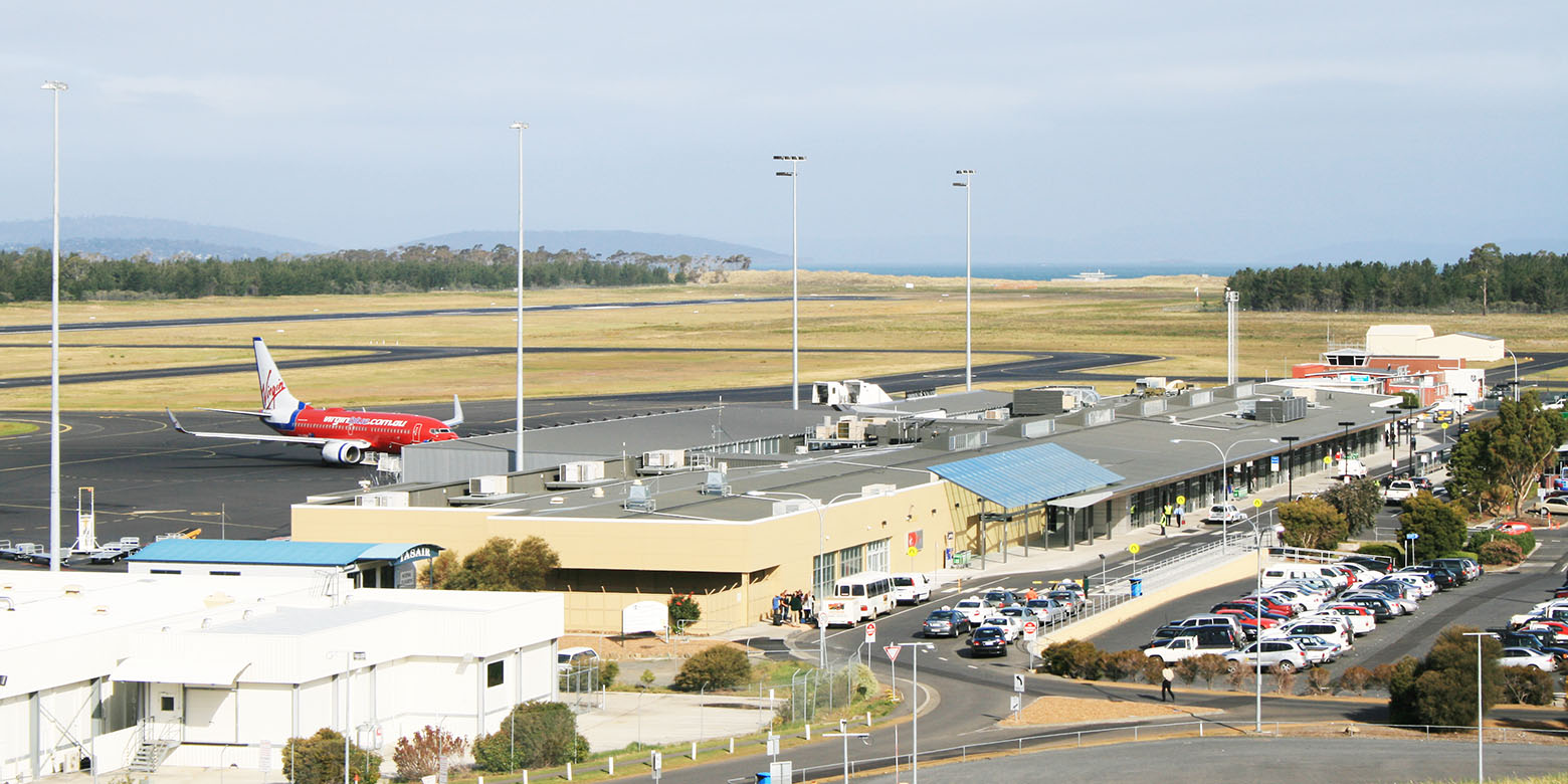 Looking down at Hobart Airport