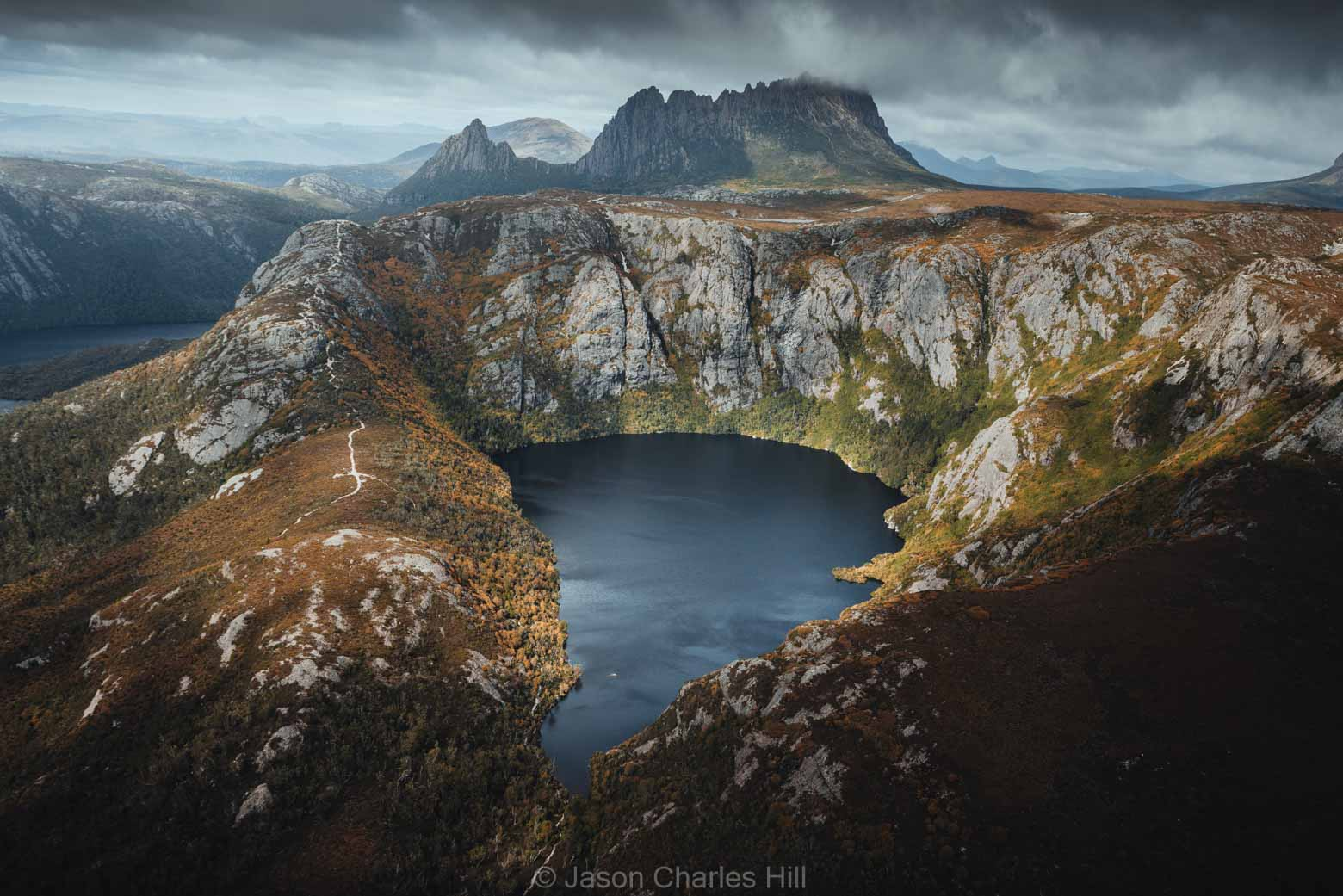 Aerial view of Crater Lake and CRadle Mountain on the Cradle Coast on your Lap of Tasmania Road Trip