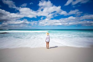 Stand in the cool water of Bay of Fires on your Lap of Tasmania Road Trip