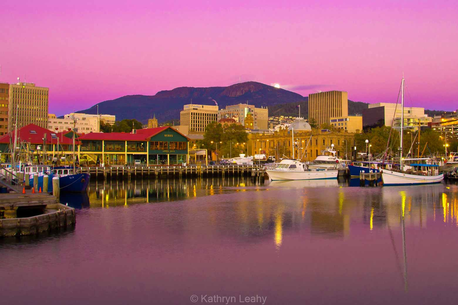 Hobart waterfront at sunset on your Lap of Tasmania Road Trip -