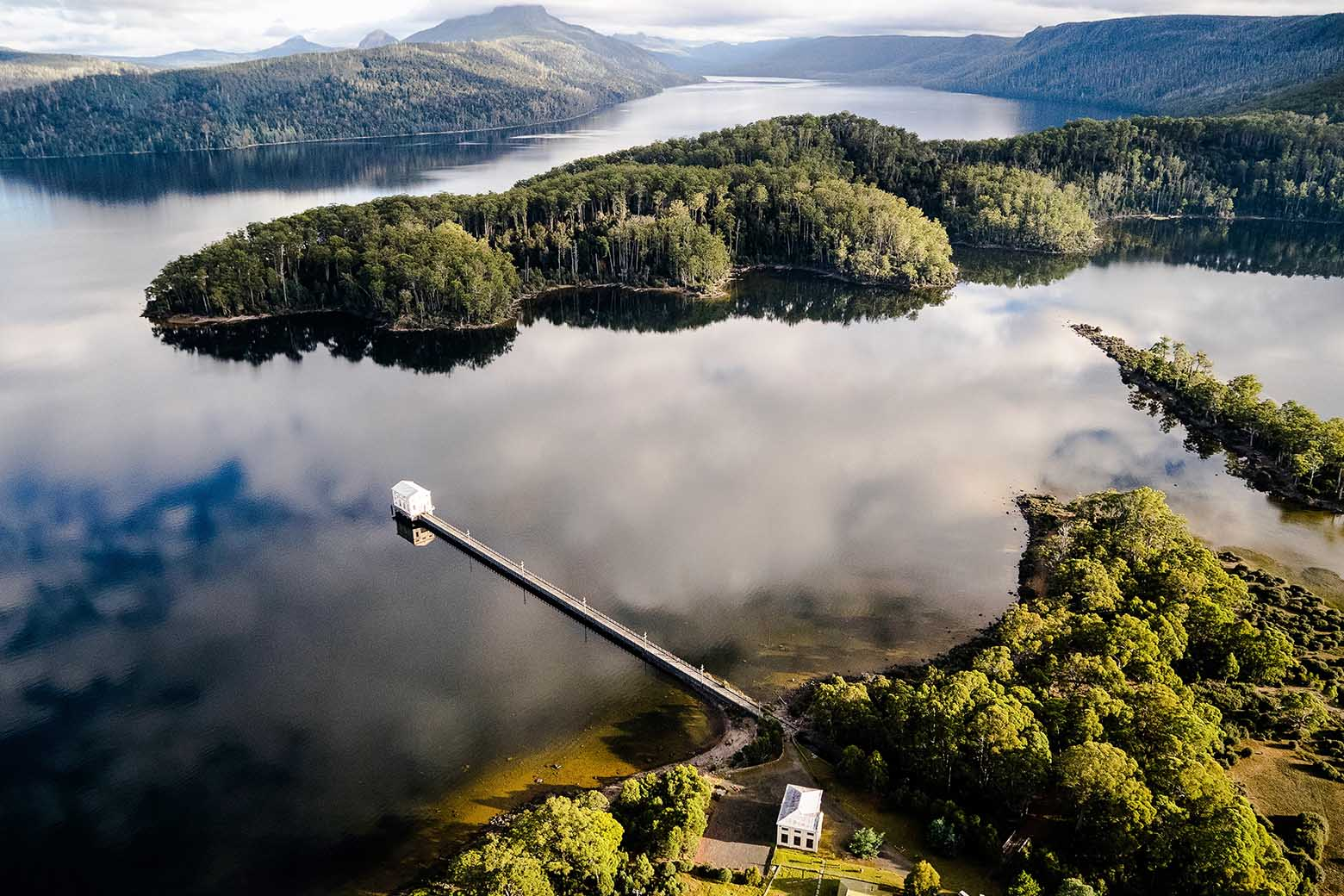 An aerial view of Pumphouse Point in the upper Derwent Valley of Tasmania - perfect for your Lap of Tasmania road trip