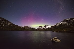 Cradle Mountain is where to see the Southern Lights in Tasmania on your Tasmania Road trip