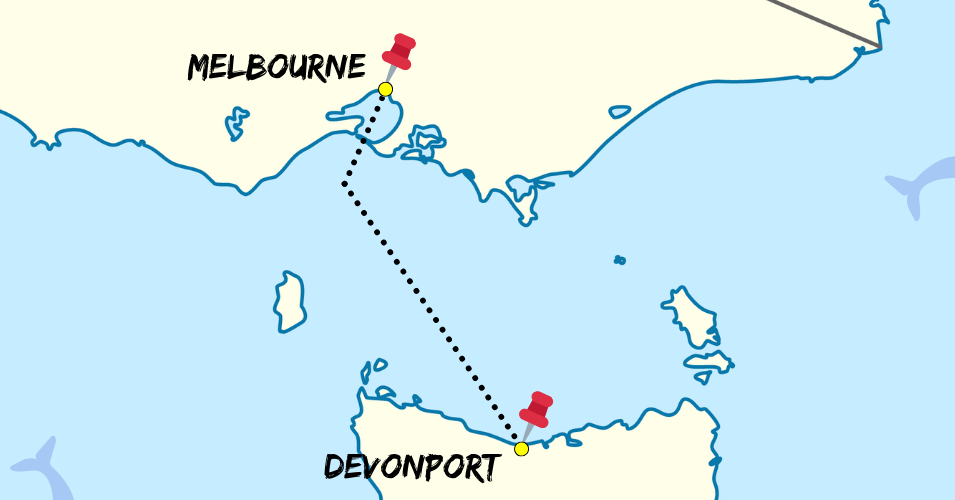 Spirit of Tasmania Route Map