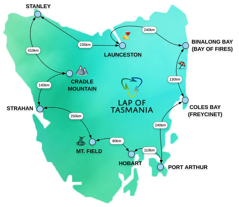 Tasmania Map Distances