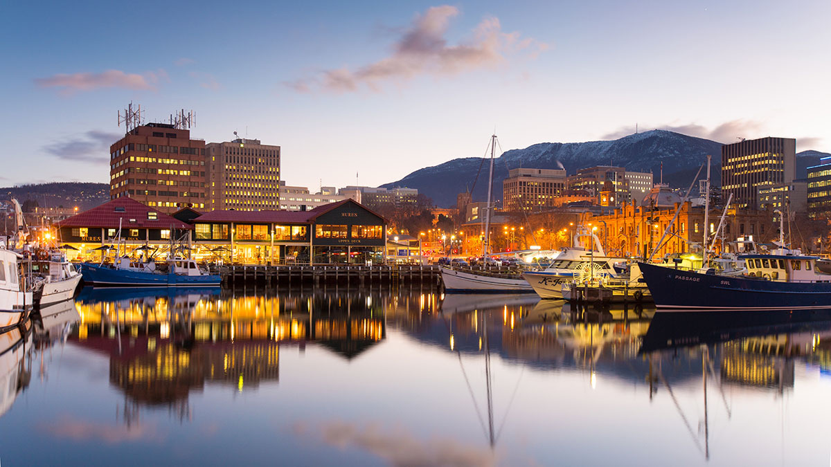 A photo of the Hobart waterfront, starting our guide to the very Best Things to Do in Hobart