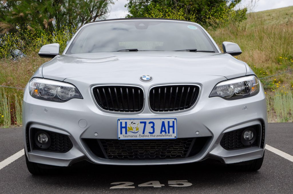 Our BMW waiting for us at Hobart Airport