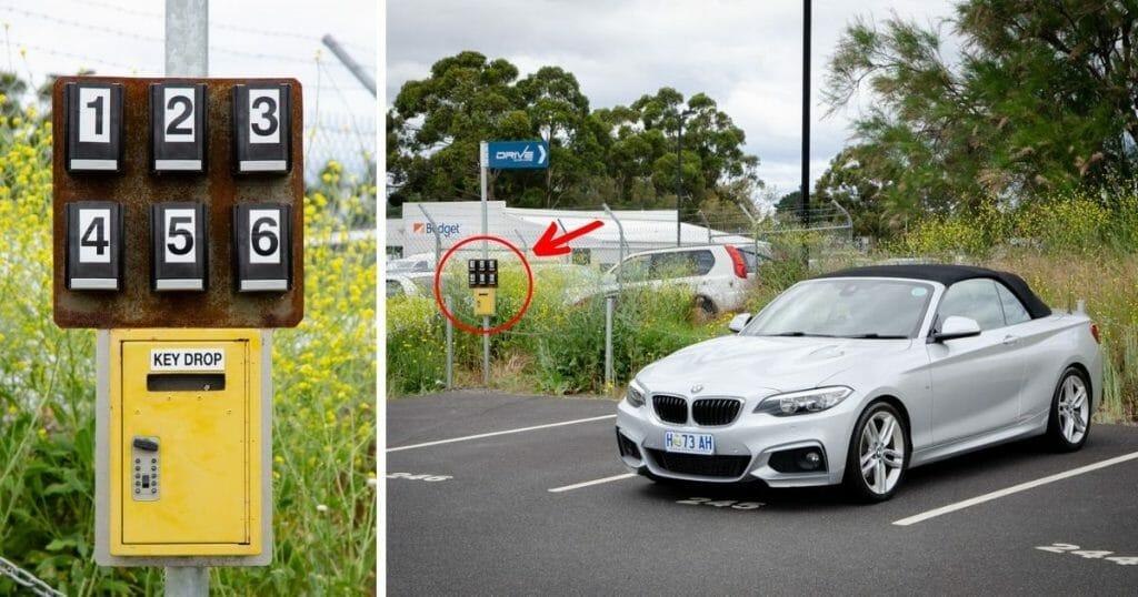 Key Safe and Car at Hobart Airport